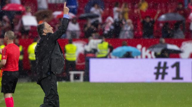 Joaquín Caparrós señala al cielo tras el Sevilla-Alavés. Foto: J. J. Úbeda