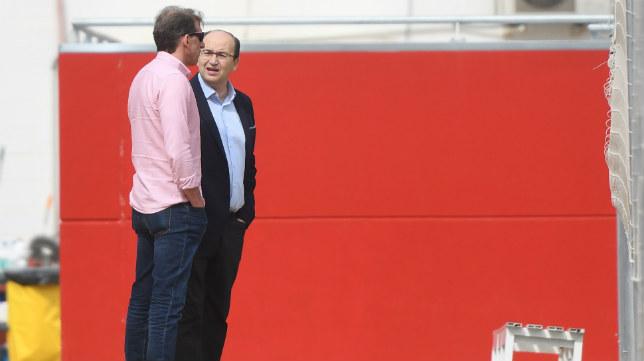 José Castro y Óscar Arias, en el último entrenamiento en el que se les vio juntos, el miércoles 25 de abril