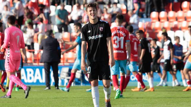 Marc Gual se lamenta en el Lugo-Sevilla Atlético (Foto: Carlos Castro/LOFT)