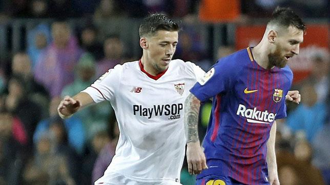 Lenglet ante Messi (foto: EFE/Andreu Dalmau)