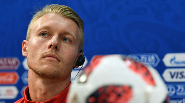 Kjaer, en rueda de prensa durante el Mundial (AFP / Dimitar Dilkoff)