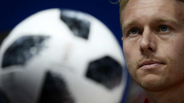 Kjaer, capitán de Dinamarca, jugó los 90 minutos en el duelo ante Perú (0-1 favorable para los nórdicos)