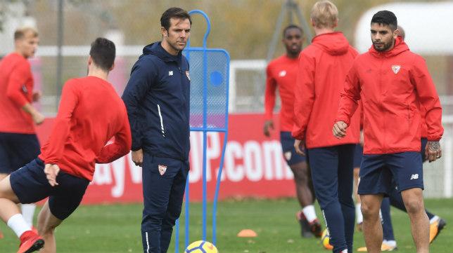Carlos Marchena en un entrenamiento del Sevilla FC