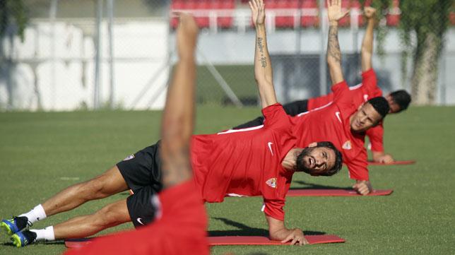 Nico Pareja, esta semana entrenando a las órdenes de Machín (foto: Rocío Ruz)