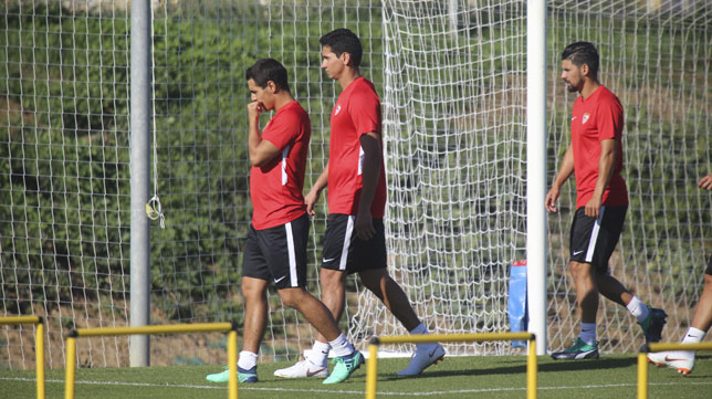 Ben Yedder, Ganso y Nolito, en un entrenamiento del Sevilla (Rocío Ruz)