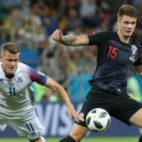 Caleta-Car, en un encuentro con Croacia durante el Mundial de Rusia (Reuters)
