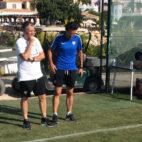 Joaquín Caparrós, este sábado en el entrenamiento del Sevilla en Benidorm