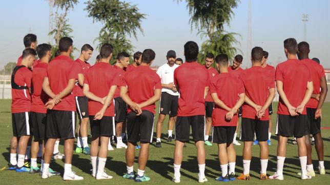 Pablo Machín, en un entrenamiento del Sevilla (Rocío Ruz)