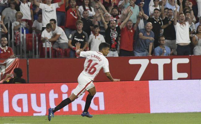 Jesús Navas celebra el 1-0 del Sevilla-Ujpest (SFC)