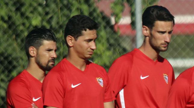 Nolito, Ganso y Sergio Rico, durante un entrenamiento (foto: Rocío Ruz)