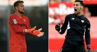 Tomas Vaclik (i) y Sergio Rico (d) se juegan la titularidad en la portería del Sevilla