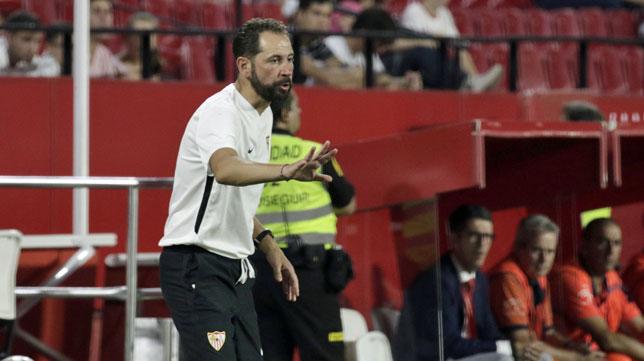 Pablo Machín, en el amistoso Sevilla-Extremadura (foto: Juan Flores)