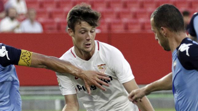Marc Gual, en el amistoso Sevilla-Extremadura (foto: Juan Flores)