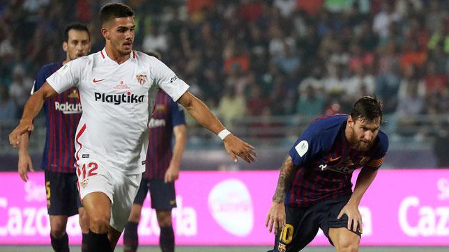 André Silva junto a Messi en la Supercopa de Tánger (foto: AFP)