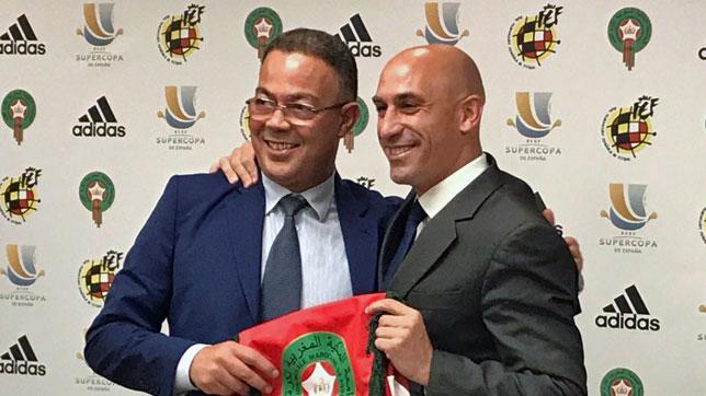 Luis Rubiales, junto a su homólogo marroquí durante la presentación de la Supercopa en Rabat (foto: RFEF)