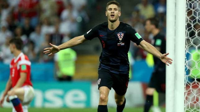 El croata Andrej Kramaric celebra su gol a Rusia en el Mundial