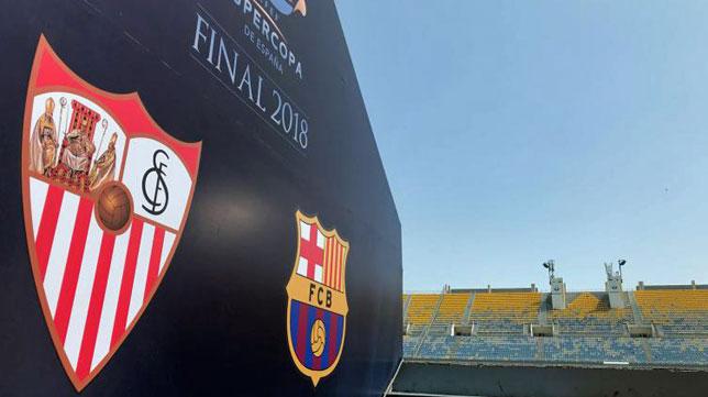 Preparativos en el Grand Stade de Tánger para la Supercopa (foto: RFEF)
