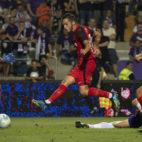 Sarabia anota el 0-1 en el Ujpest-Sevilla FC