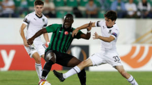 Lance del Akhisar-Krasnodar disputado en la Europa League