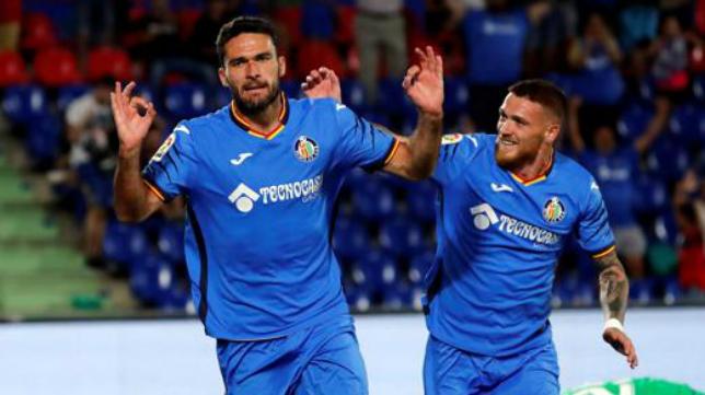 Jorge Molina celebra un gol con el Getafe