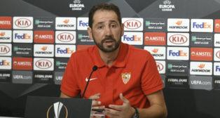 Pablo Machín, en la rueda de prensa previa al Sevilla FC-Standard. Foto: SFC