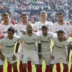Vaclik, André Silva, Carriço, Kjaer, Franco Vázquez, Sergi Gómez, Ben Yedder, Aleix Vidal, Banega, Navas y Sarabia, en el Levante-Sevilla (LaLiga)