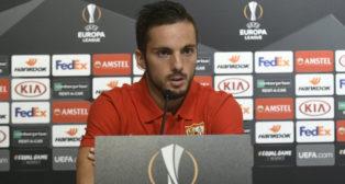 Pablo Sarabia, durante su rueda de prensa previa antes del partido ante el Standard de Lieja (Foto: SFC)