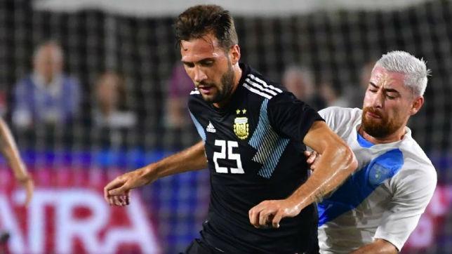 Franco Vázquez, en su debut con Argentina ante Guatemala (Getty Images)