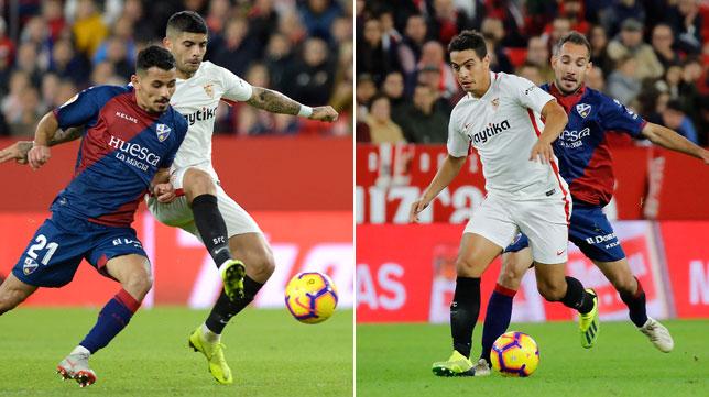 Banega y Ben Yedder, en acciones durante el Sevilla-Huesca