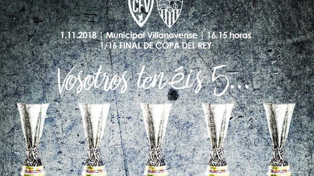 Cartel del Villanovense para el duelo ante el Sevilla FC