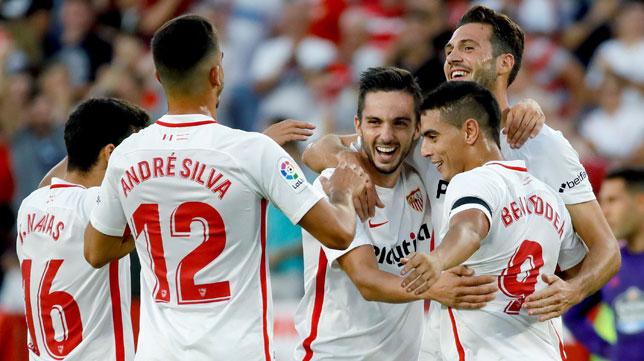 Los jugadores del Sevilla celebran el 2-0 ante el Celta. Foto: EFE