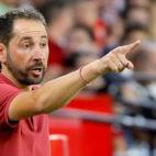Pablo Machín da instrucciones durante el Sevilla-Celta