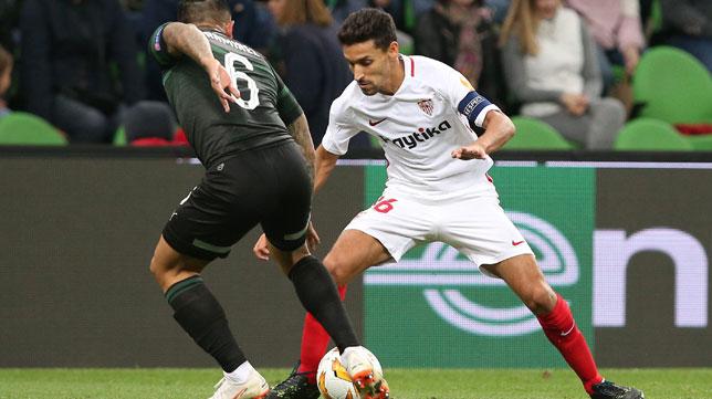 Navas, en un lance del Krasnodar-Sevilla