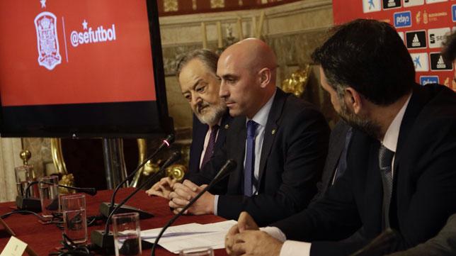 Luis Rubiales, durante la rueda de prensa de presentación del España-Inglaterra