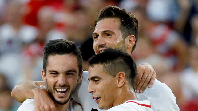 Sarabia, Franco Vázquez y Ben Yedder, en el Sevilla-Celta (EFE)