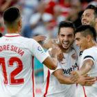 Navas, André Silva, Sarabia, Franco Vázquez y Ben Yedder, en el Sevilla-Celta (EFE)