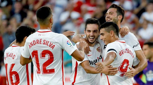 Navas, André Silva, Sarabia, Franco Vázquez y Ben Yedder, en el Sevilla FC-Celta (EFE)