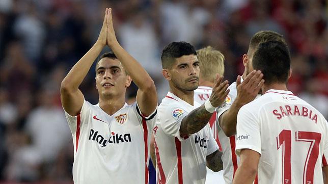 Ben Yedder celebra su gol ante el Celta (Foto: AFP).