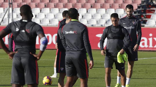 Ben Yedder, durante el entrenamiento del Sevilla (Foto: Juan José Úbeda).