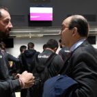 Pablo Machín y José Castro, esta mañana en el aeropuerto de Sevilla (Foto: SFC)