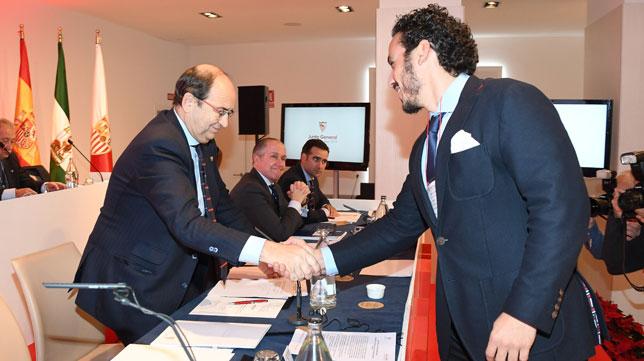 José Castro y José María del Nido Carrasco, en la junta de accionistas 2018 del Sevilla (Juan José Úbeda)