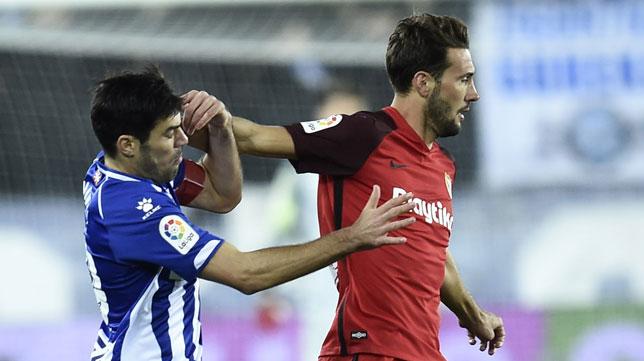 Mudo Vázquez, durante el partido contra el Alavés de la temporada pasada (Foto: J. M. Serrano/Arce)