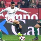 André Silva , en un lance del Sevilla-Villanovense (J. J. Úbeda)