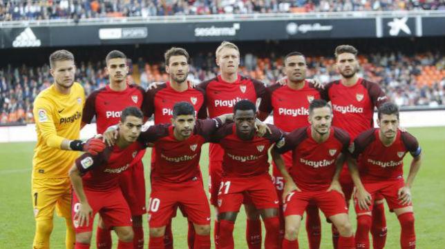 Once del Sevilla FC ante el Valencia. Foto: LaLiga