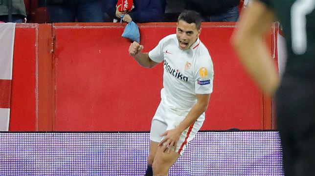 Ben Yedder celebra uno de los goles anotados en el Sevilla-Krasnodar (Foto: J. M. Serrano)