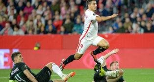 Ben Yedder, durante el Sevilla-Krasnodar (AFP)