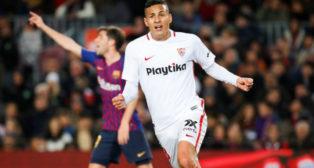 Arana celebra el gol anotado en el Barcelona-Sevilla de la Copa del Rey (Foto: EFE)