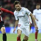 Franco Vázquez, en un lance del Athletic-Sevilla de la Copa (Foto: Juan Manuel Serrano Arce)