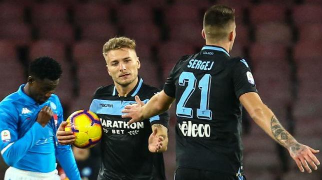 Immobile celebra su gol al Nápoles