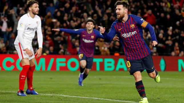 Messi celebra un gol en un encuentro de la Copa del Rey ante el Sevilla (Reuters)